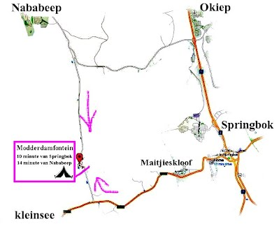Map to Modderfontein Camping site at Springbok